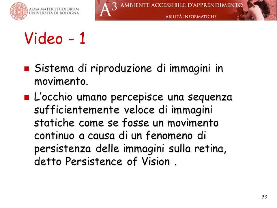 Video - 1 Sistema di riproduzione di immagini in movimento.