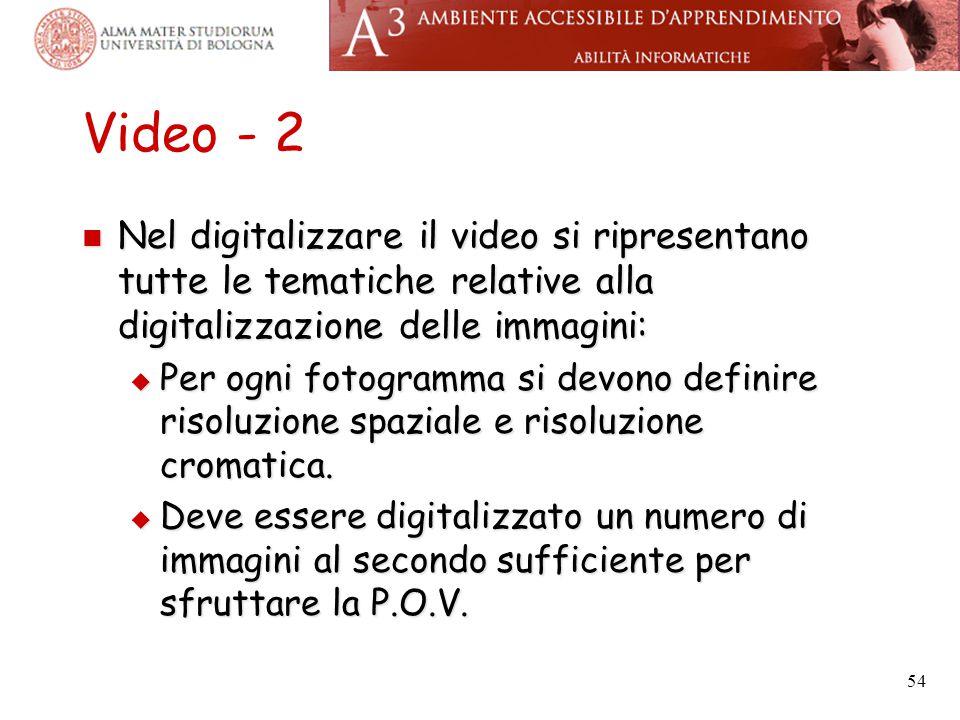 Video - 2 Nel digitalizzare il video si ripresentano tutte le tematiche relative alla digitalizzazione delle immagini: