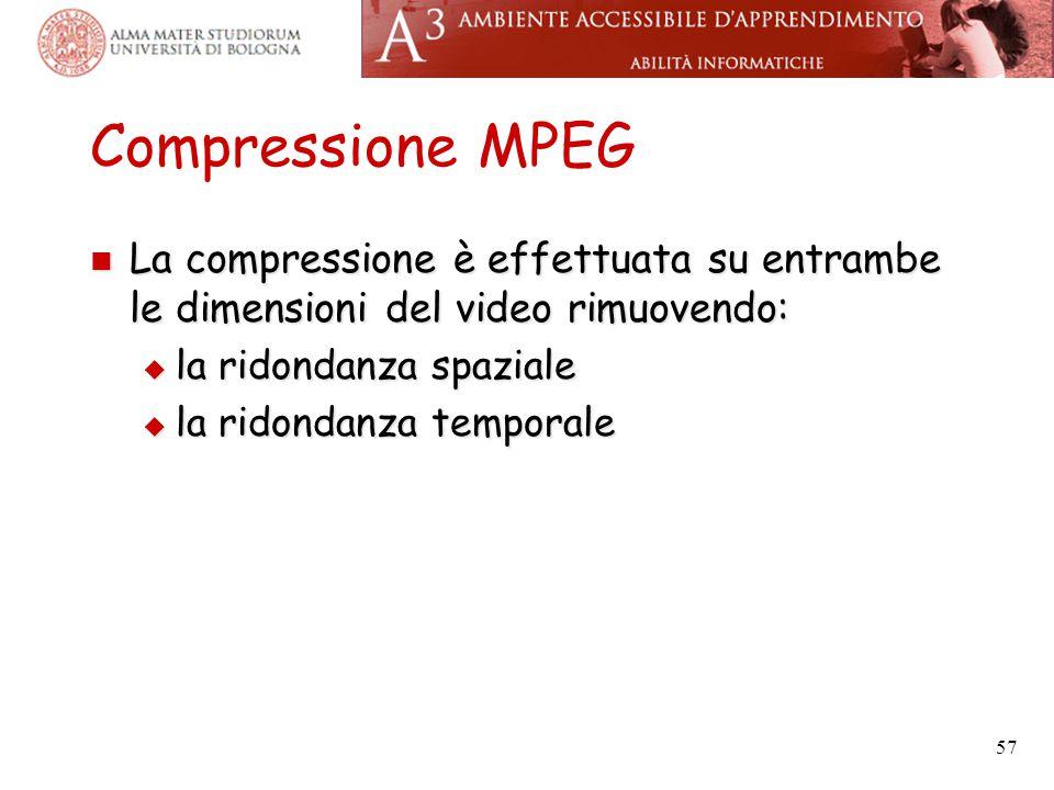 Compressione MPEG La compressione è effettuata su entrambe le dimensioni del video rimuovendo: la ridondanza spaziale.