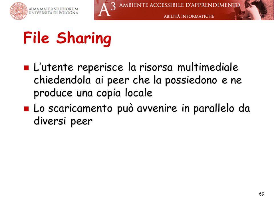 File Sharing L'utente reperisce la risorsa multimediale chiedendola ai peer che la possiedono e ne produce una copia locale.