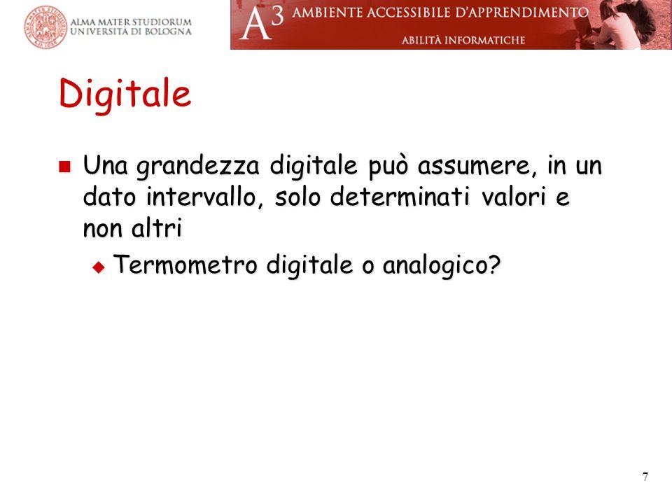 Digitale Una grandezza digitale può assumere, in un dato intervallo, solo determinati valori e non altri.