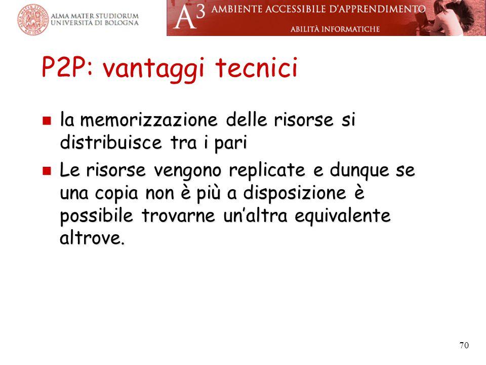 P2P: vantaggi tecnici la memorizzazione delle risorse si distribuisce tra i pari.