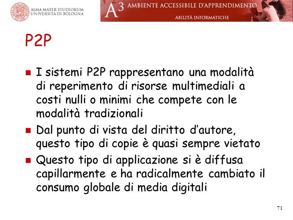 P2P I sistemi P2P rappresentano una modalità di reperimento di risorse multimediali a costi nulli o minimi che compete con le modalità tradizionali.