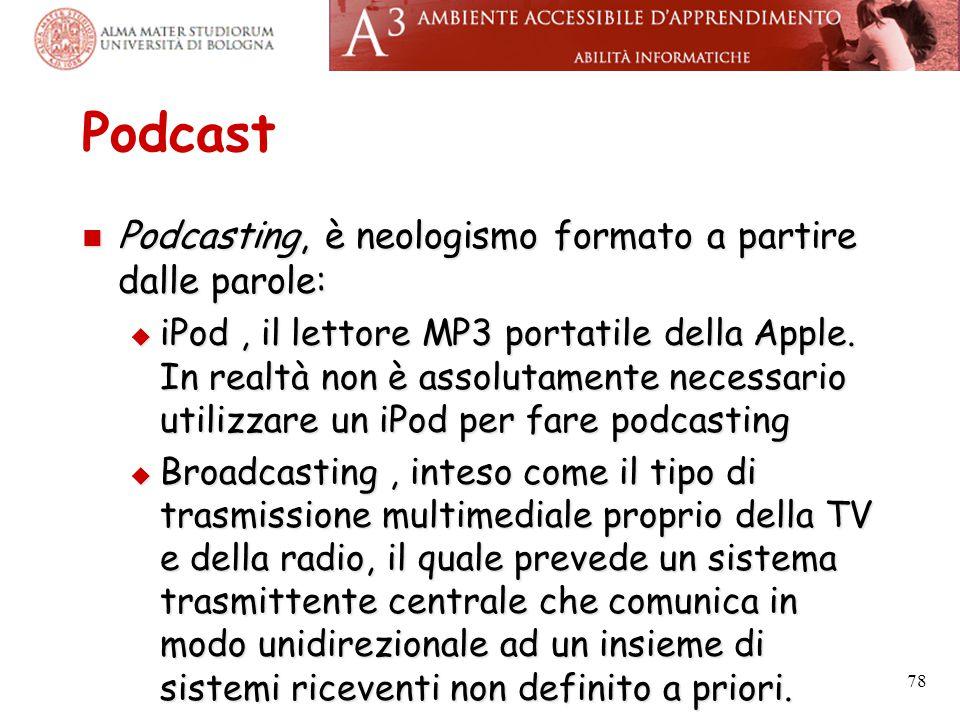 Podcast Podcasting, è neologismo formato a partire dalle parole: