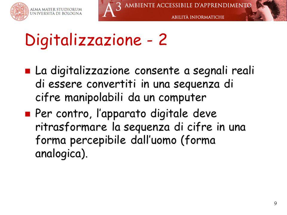 Digitalizzazione - 2 La digitalizzazione consente a segnali reali di essere convertiti in una sequenza di cifre manipolabili da un computer.