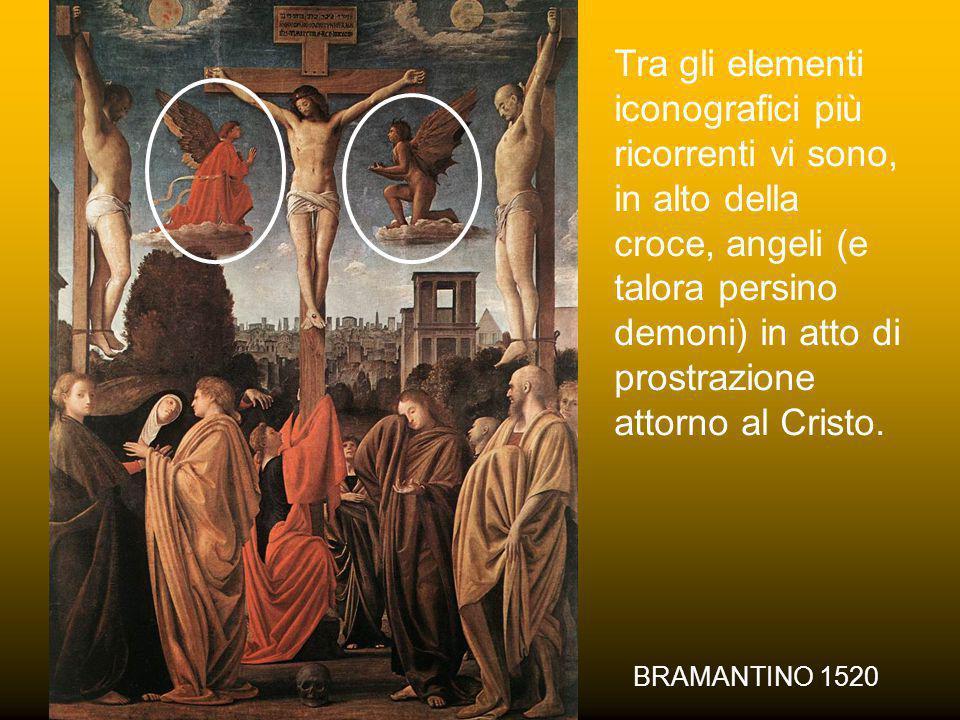 Tra gli elementi iconografici più ricorrenti vi sono, in alto della croce, angeli (e talora persino demoni) in atto di prostrazione attorno al Cristo.