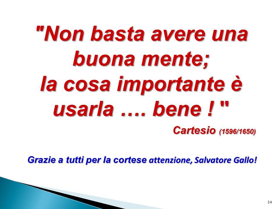 Grazie a tutti per la cortese attenzione, Salvatore Gallo!