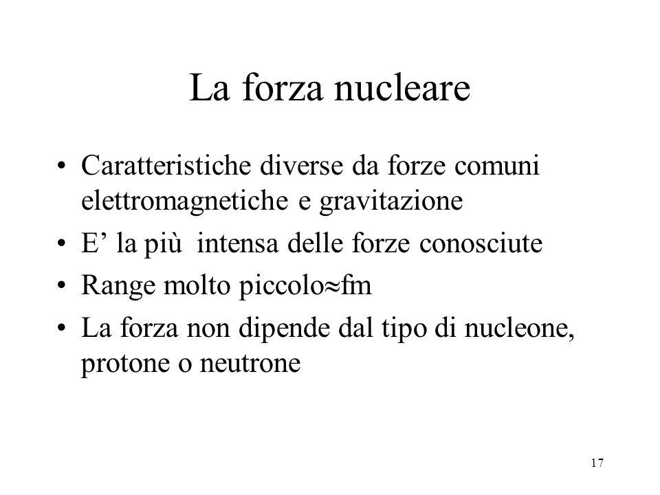 La forza nucleare Caratteristiche diverse da forze comuni elettromagnetiche e gravitazione. E' la più intensa delle forze conosciute.