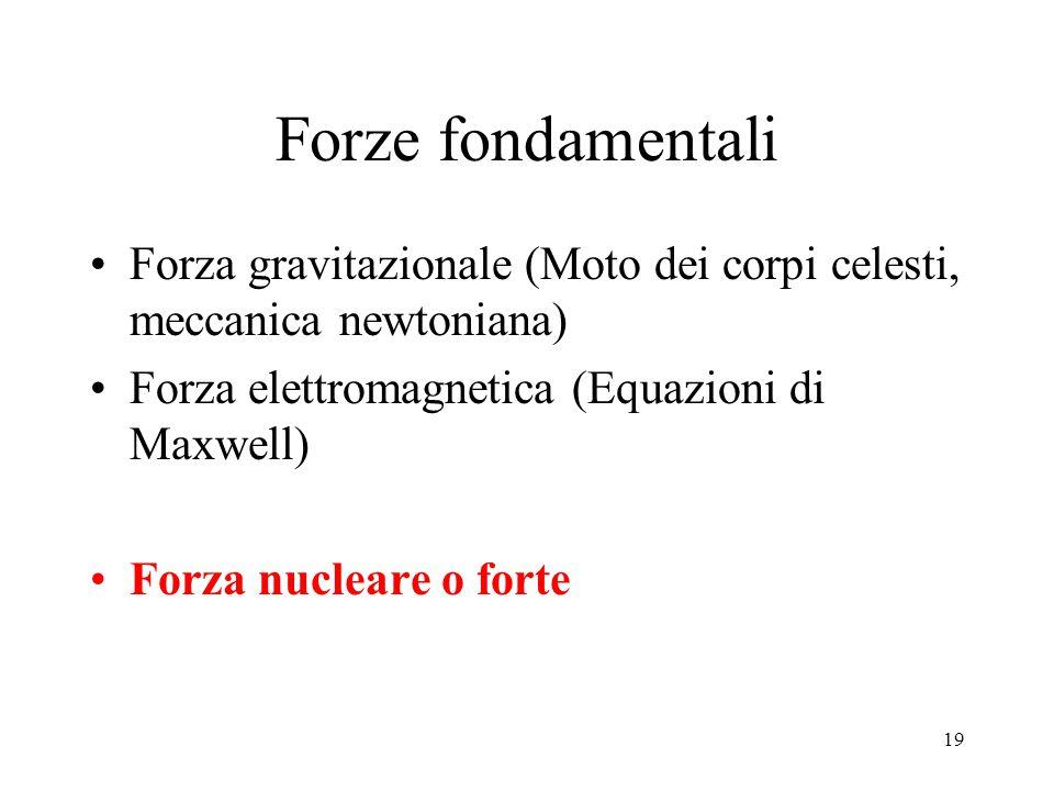 Forze fondamentali Forza gravitazionale (Moto dei corpi celesti, meccanica newtoniana) Forza elettromagnetica (Equazioni di Maxwell)