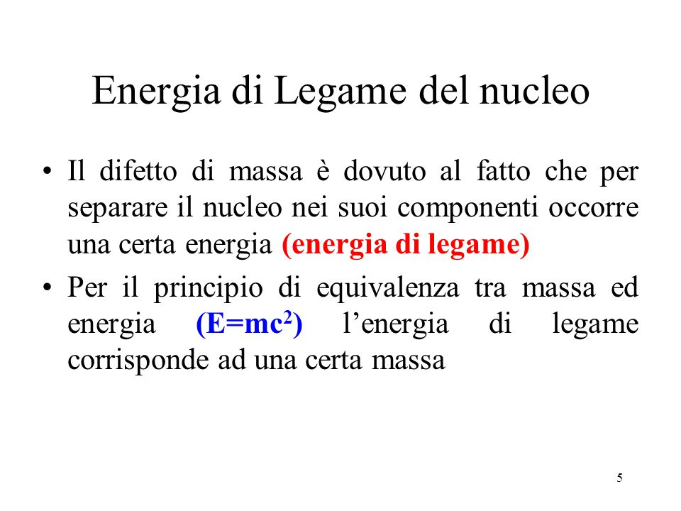 Energia di Legame del nucleo