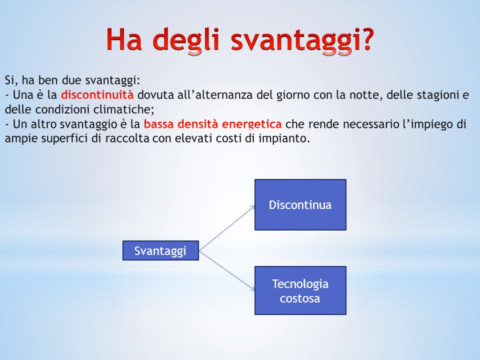 Ha degli svantaggi