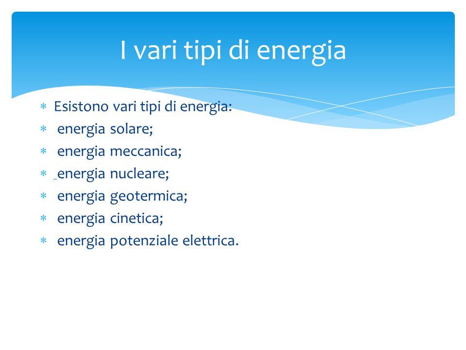 I vari tipi di energia Esistono vari tipi di energia: energia solare;