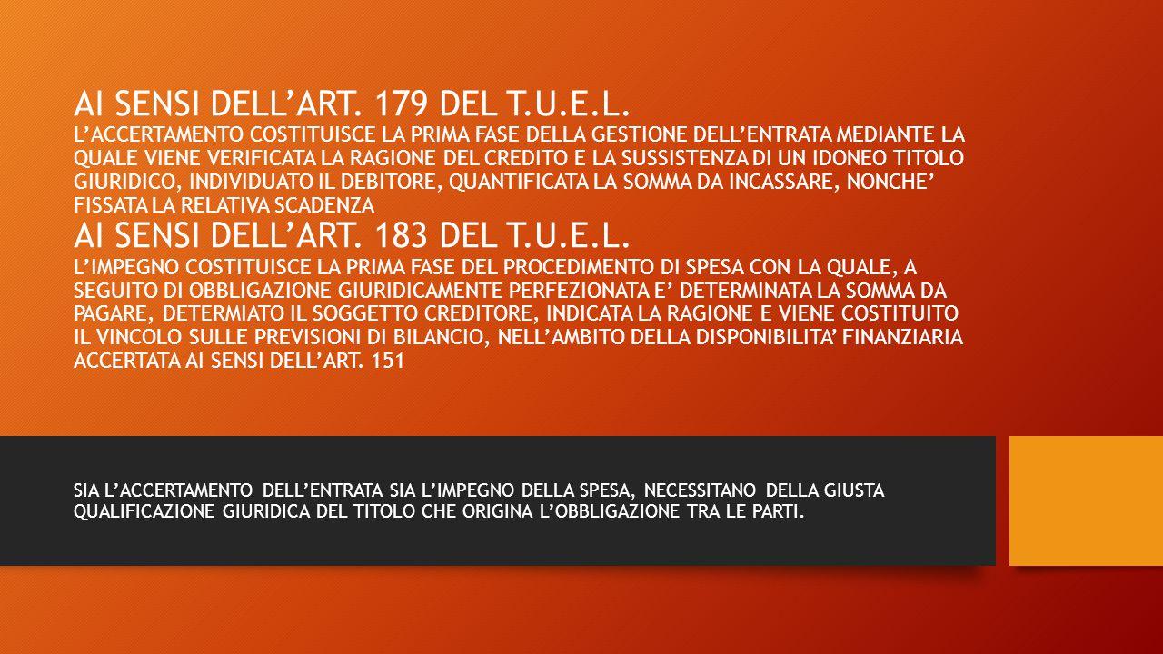 AI SENSI DELL'ART. 179 DEL T. U. E. L