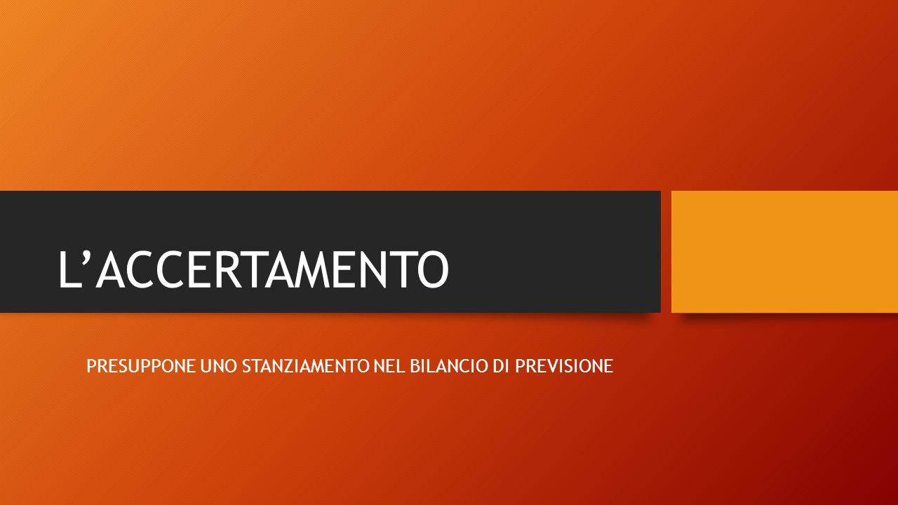 PRESUPPONE UNO STANZIAMENTO NEL BILANCIO DI PREVISIONE