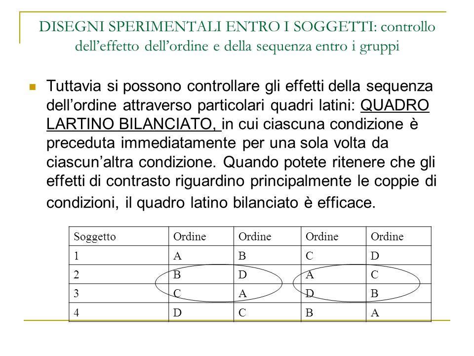 DISEGNI SPERIMENTALI ENTRO I SOGGETTI: controllo dell'effetto dell'ordine e della sequenza entro i gruppi