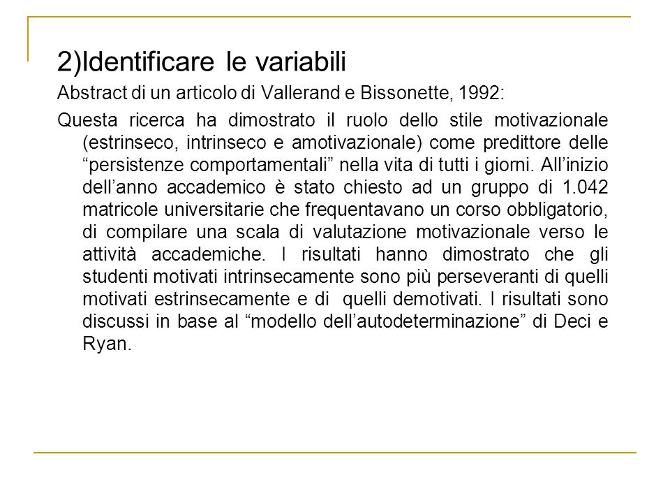 2)Identificare le variabili