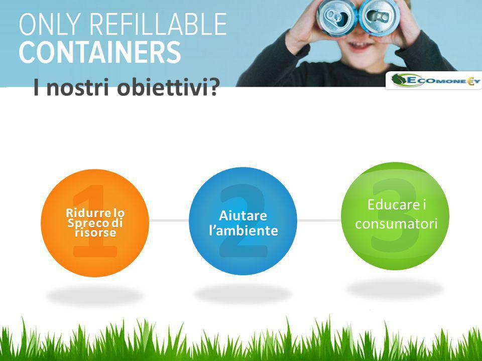 3 1 2 I nostri obiettivi Educare i consumatori Aiutare l'ambiente