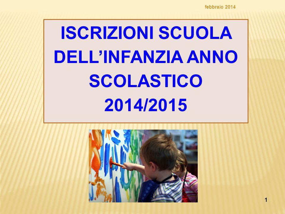 ISCRIZIONI SCUOLA DELL'INFANZIA ANNO SCOLASTICO 2014/2015