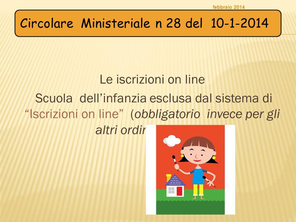 febbraio 2014 Circolare Ministeriale n 28 del 10-1-2014. Le iscrizioni on line.