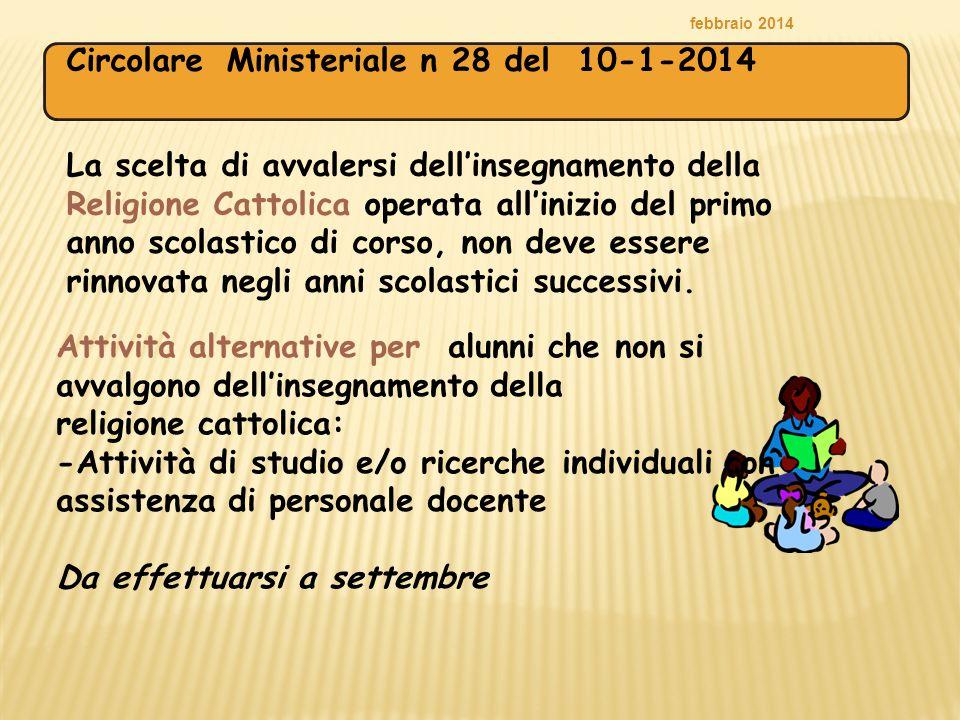 Circolare Ministeriale n 28 del 10-1-2014