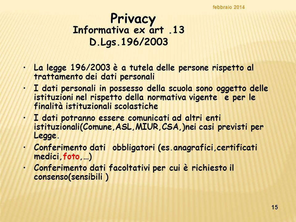 Informativa ex art .13 D.Lgs.196/2003
