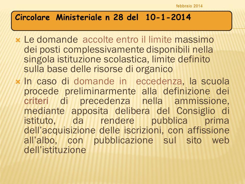febbraio 2014 Circolare Ministeriale n 28 del 10-1-2014.