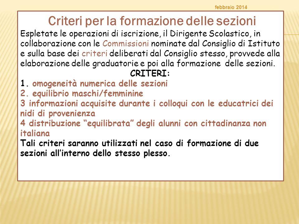 Criteri per la formazione delle sezioni