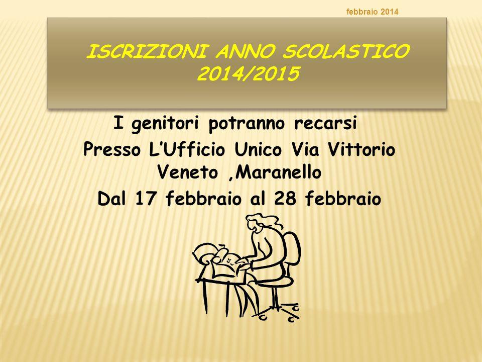 ISCRIZIONI ANNO SCOLASTICO 2014/2015