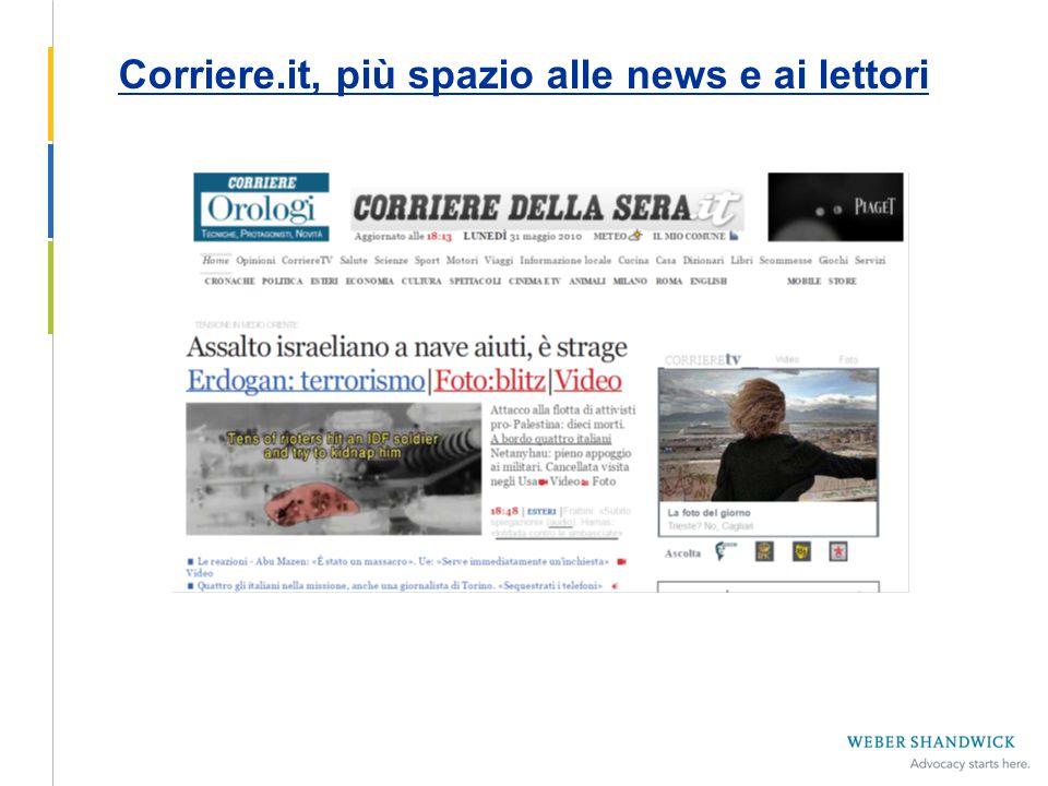 Corriere.it, più spazio alle news e ai lettori