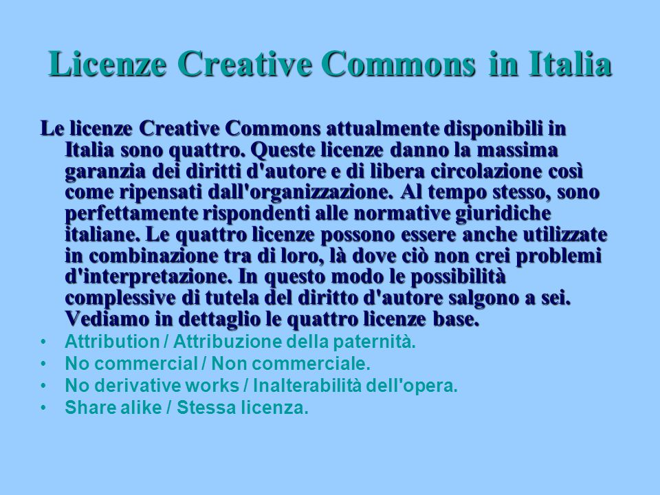 Licenze Creative Commons in Italia