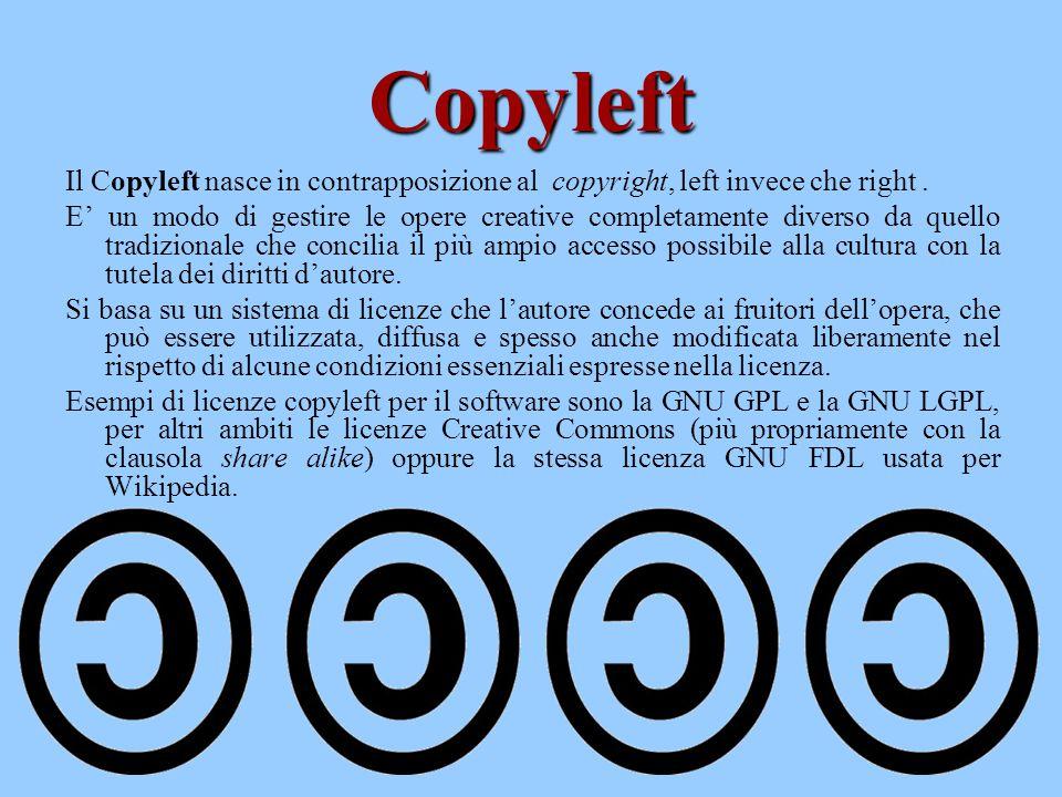 Copyleft Il Copyleft nasce in contrapposizione al copyright, left invece che right .