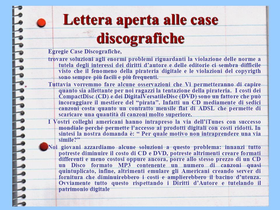 Lettera aperta alle case discografiche