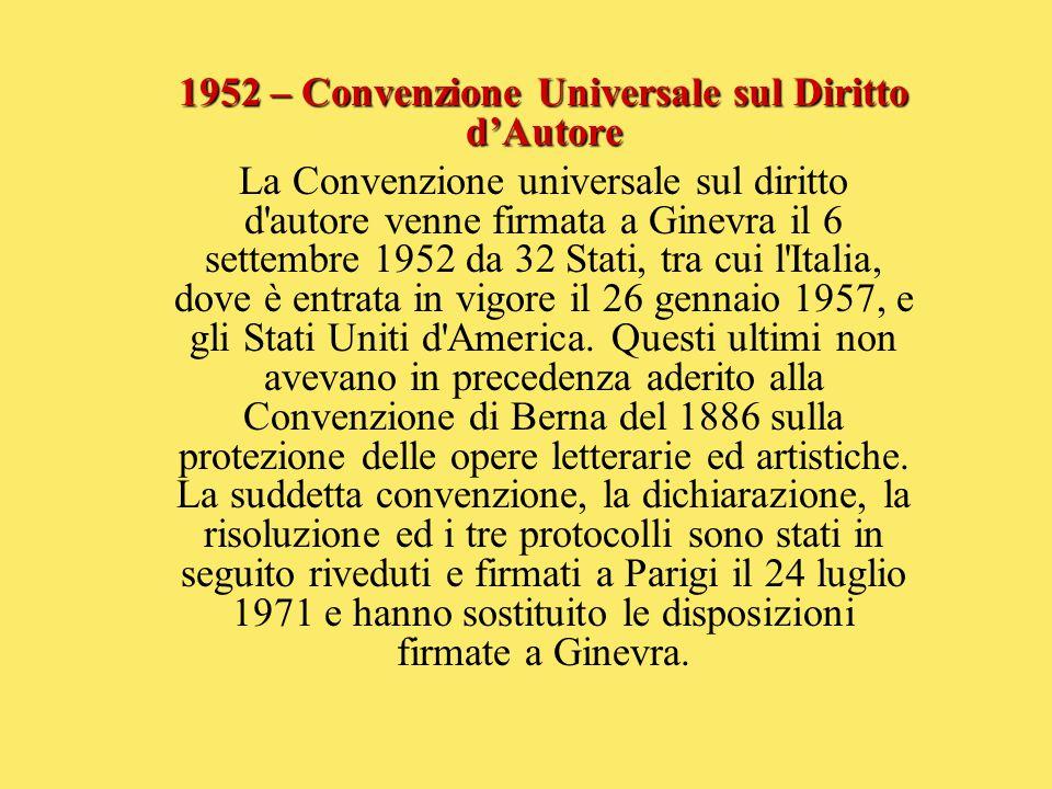 1952 – Convenzione Universale sul Diritto d'Autore