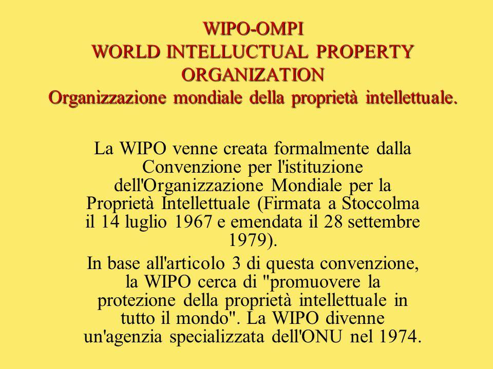 WIPO-OMPI WORLD INTELLUCTUAL PROPERTY ORGANIZATION Organizzazione mondiale della proprietà intellettuale.