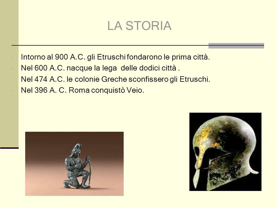 LA STORIA Intorno al 900 A.C. gli Etruschi fondarono le prima città.