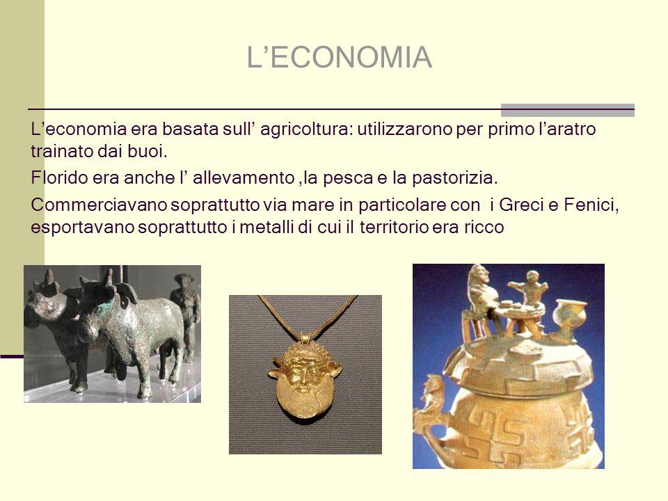 L'ECONOMIA L'economia era basata sull' agricoltura: utilizzarono per primo l'aratro trainato dai buoi.