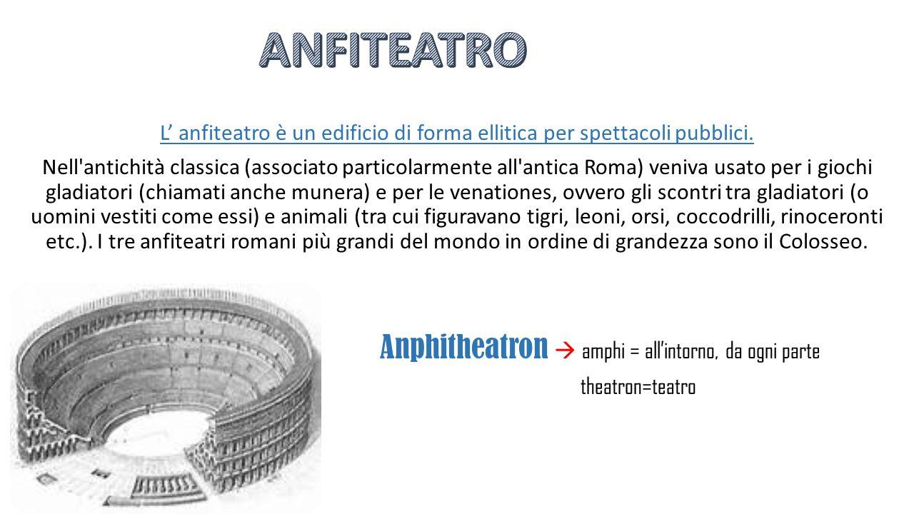 ANFITEATRO L' anfiteatro è un edificio di forma ellitica per spettacoli pubblici.