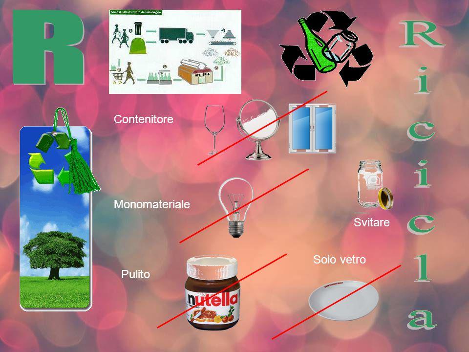 R Contenitore Ricicla Monomateriale Svitare Solo vetro Pulito