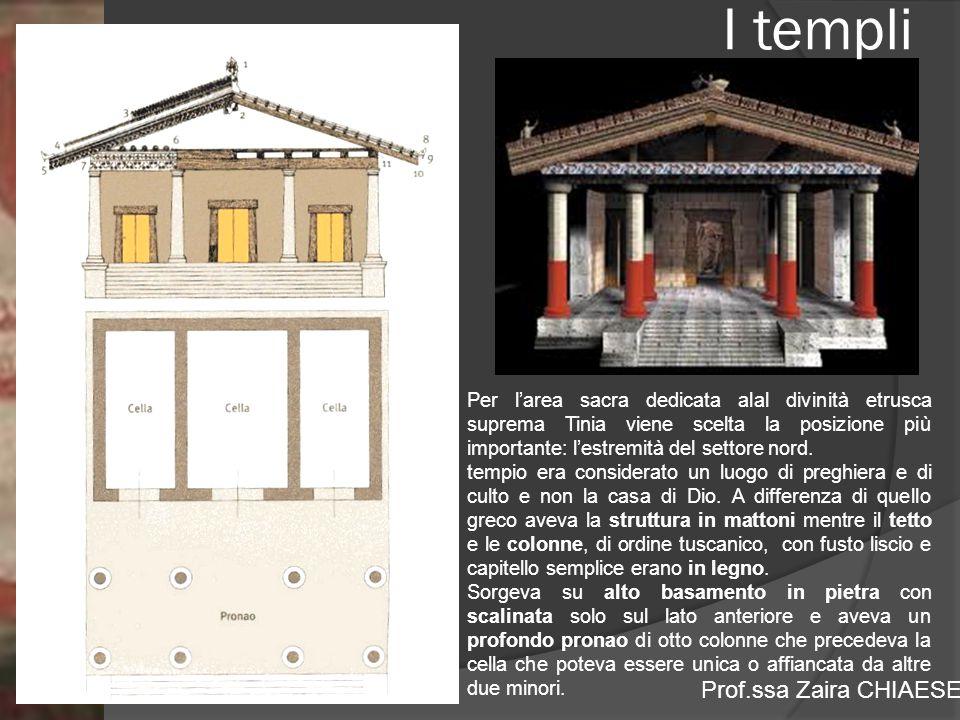 I templi Per l'area sacra dedicata alal divinità etrusca suprema Tinia viene scelta la posizione più importante: l'estremità del settore nord.