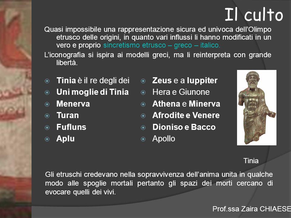 Il culto Tinia è il re degli dei Uni moglie di Tinia Menerva Turan
