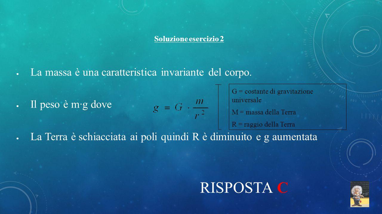 RISPOSTA C La massa è una caratteristica invariante del corpo.