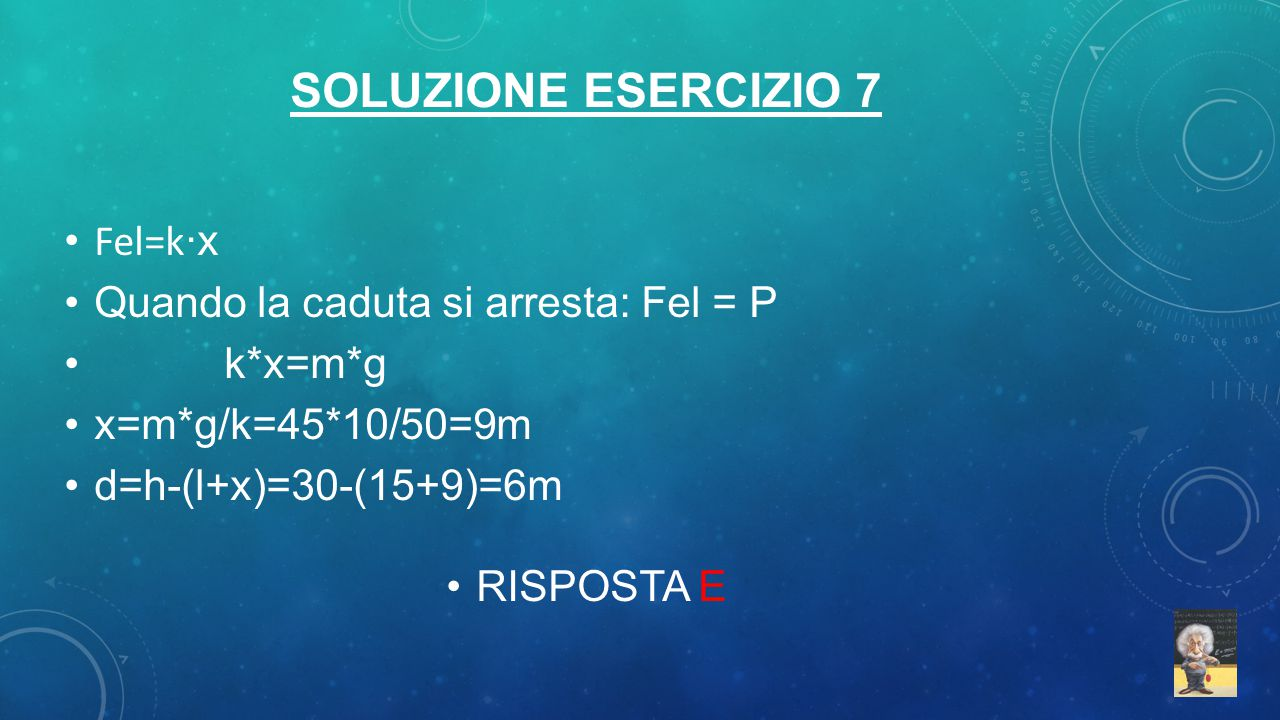 Soluzione esercizio 7 Fel=k·x Quando la caduta si arresta: Fel = P