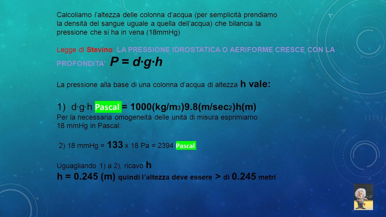 d·g·h Pascal = 1000(kg/m3)9.8(m/sec2)h(m)