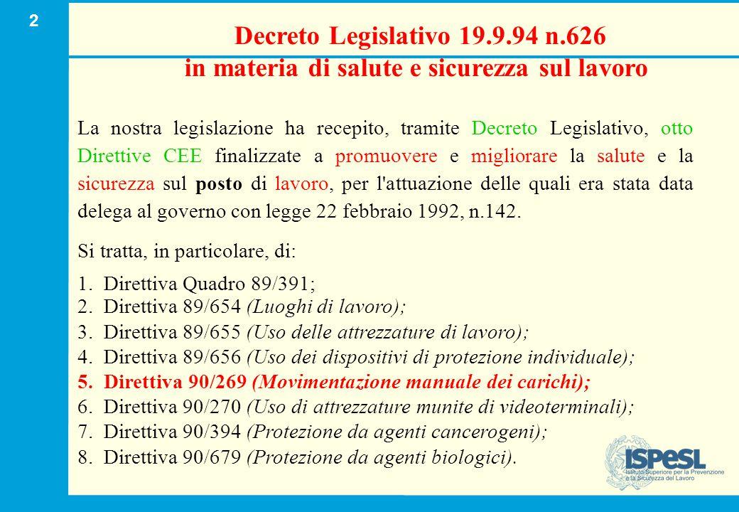 D.Lgs. 626/94 D.Lgs. 81/08.