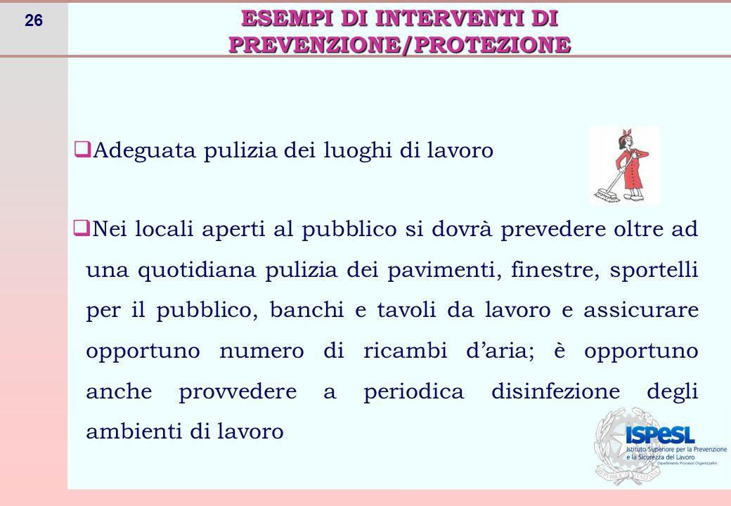 ESEMPI DI INTERVENTI DI PREVENZIONE/PROTEZIONE