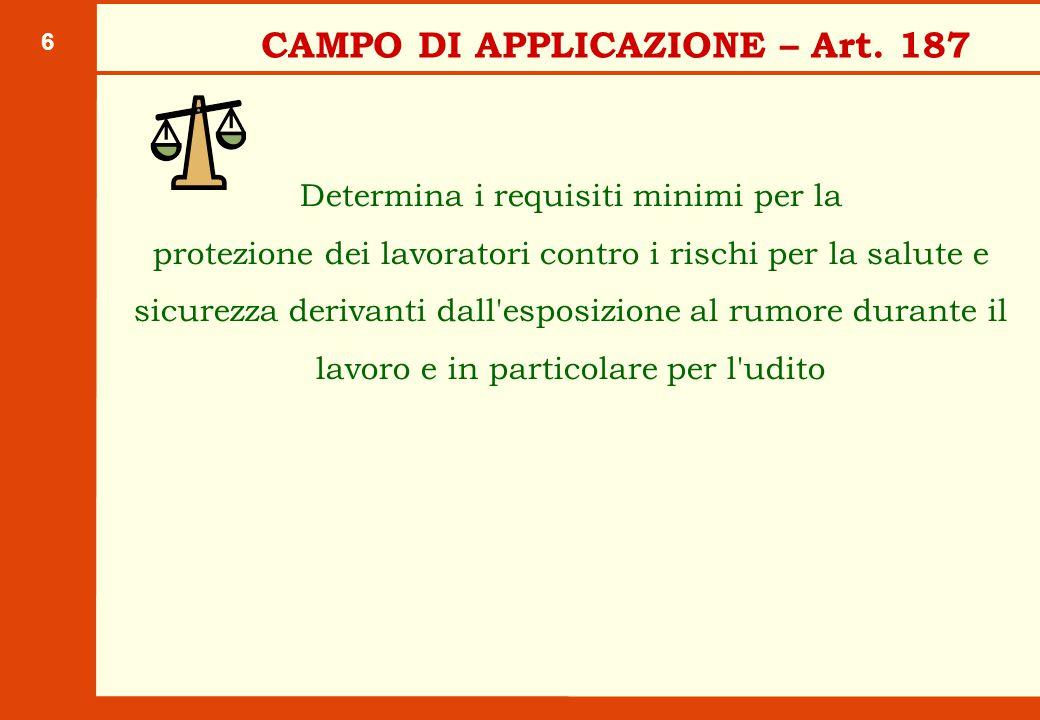 DEFINIZIONI – Art. 188 Pressione acustica di picco (ppeak): valore massimo della pressione acustica istantanea;