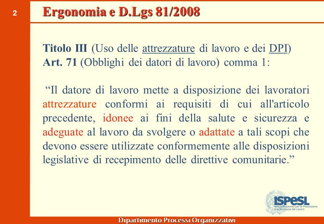 Ergonomia e D.Lgs 81/2008