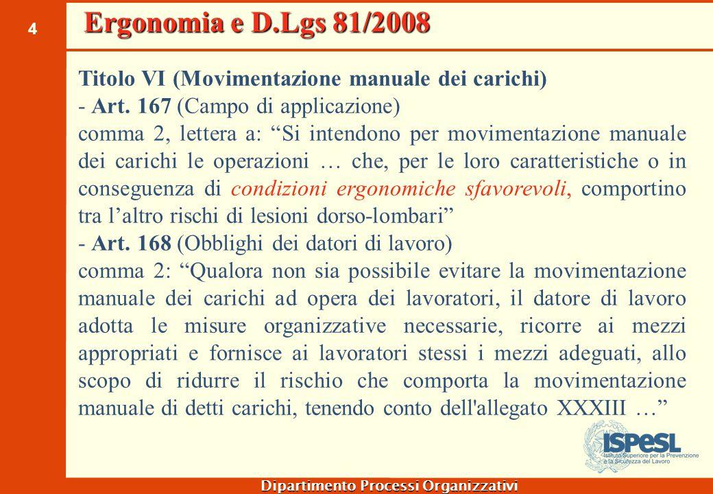 Ergonomia e D.Lgs 81/2008 Titolo VII (Uso di attrezzature munite di videoterminali) Art. 174 (Obblighi dei datori di lavoro)