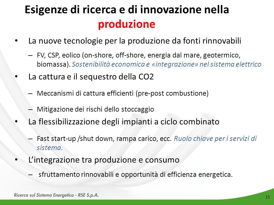 Esigenze di ricerca e di innovazione nella produzione