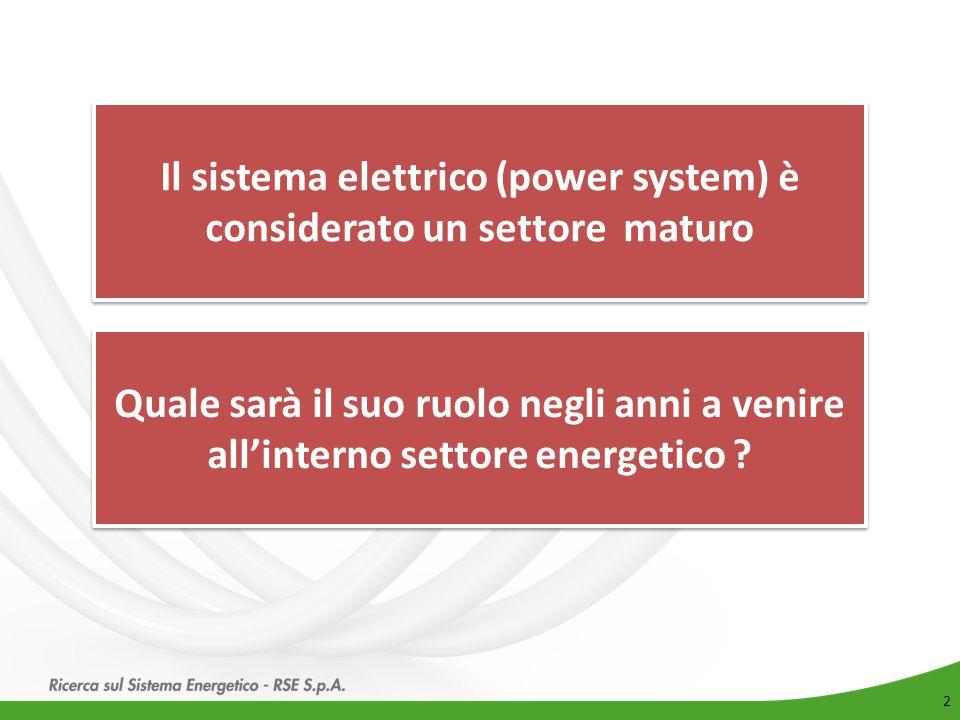 Il sistema elettrico (power system) è considerato un settore maturo
